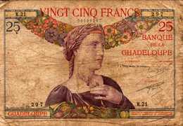 GUADELOUPE (Banque De La)  25 FRANCS  1934/1944nd  Pick 14  RARE - Francia