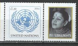 UN-New York. Scott # 1126 MNH Personalized With Label. 100th. Anniv. Birth Of M.S. Subbulakshmi 2016 - New-York - Siège De L'ONU
