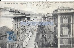 64539 ITALY GENOVA LIGURIA STREET XX SEPTEMBER TRAMWAY TRAM SPOTTED POSTAL POSTCARD - Italia