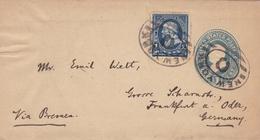 Lettre Entier Postal USA Cachet New York Pour Frankfurt Germany Allemagne Benjamin Franklin One Cent