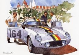 Tour De France Auto 1958 -  Olivier Gendebien/Lucien Bianchi - Ferrari 250 GT  - Illustration Par Pierre Englebert - CPM - Le Mans