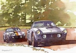 Tour De France Auto 1960 - Mairesse/Berger - Gendebien/Bianchi  - Ferrari 250 GT  - Illustration  Pierre Englebert - CPM - Le Mans