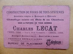 """60 - CREIL - CDV - """"Construction De Fours De Tous Systèmes"""" - CHARLES LECAT - Creil - Cartes De Visite"""