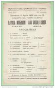 Musique Music Musica Vicenza Teatro Quartetto 1926 Bach Scarlatti Debussy Strauss Tschaikowsky - Programmi