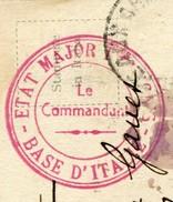 CACHET MILITAIRE 1917 - BASE D'ITALIE - ETAT MAJOR FRANCAIS - LE COMMANDANT - Marcofilie (Brieven)