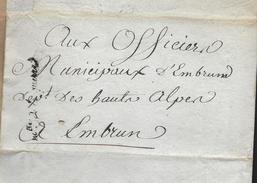 EMBRUNS Hautes Alpes Sur Pli De Paris Griffe Mtre De La Guerre Militaria 1793  Concerne Mauvais Services Infirmiers...G - Historische Dokumente