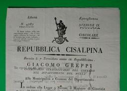 D-IT Repubblica Cisalpina 1801  Brescia Delibera Per Le Carceri - Documents Historiques