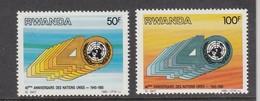 1985 Rwanda Rwandaise  UN United Nations 40th Anniversary   Complete Set Of 2 MNH. - 1980-89: Ungebraucht