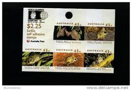 AUSTRALIA - 1992  THREATENED SPECIES S. ADHESIVE SHEETLET OVPT WORLD COLUMBIAN  MINT NH - Blocchi & Foglietti