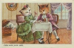 """CAT - CHATS HUMANISES - HABILLES - CHANSON - """" ADIEU NOTRE PETITE TABLE """" - édit; S.P. - TRES BEL ETAT. - Chats"""