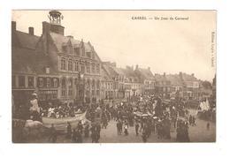 CPA 59 CASSEL Un Jour De Carnaval Animation Chars Attelés à Des Chevaux Maisons 1914 Vue Peu Commune - Cassel
