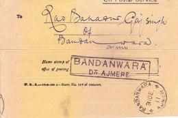 BRITISH INDIA - 1911 - BANDANWARA - AJMER CANCELLATION IN RECTANGULAR BOX - India (...-1947)