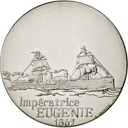 Les Grands Transatlantiques, Médaille, MONNAIE Impératrice Eugénie-  En Nickel - Tranche: Lisse Sous Capsule - Francia