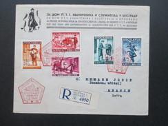 Jugoslawien Königreich 1940 Post Und Telegraphenbeamte Nr. 408 - 412 FDC / Einschreiben Mit Rotem Sonderstempel!! - 1931-1941 Kingdom Of Yugoslavia