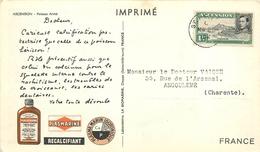 """ASCENSION - 1952 - CORRESPONDANCE -  CARTE  POISSON PIERRE  - BELLE OBLITERATION SUR TIMBRES 1P. """"GEORGES VI"""". - Ascension (Ile De L')"""