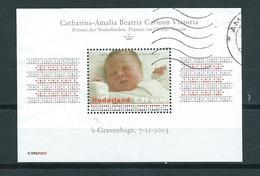 2003 Netherlands Complete M/Sheet Catharina-Amalia Used/gebruikt/oblitere - Blokken