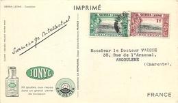 """SIERRA LEONE - 1950 - CORRESPONDANCE -  CARTE  CAMELEON  -  OBLITERATION SUR 2 TIMBRES  """"GEORGES VI"""". - Ascension (Ile De L')"""