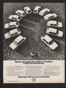 Pub 1977 Automobile Voiture VW VOLKSWAGEN GOLF Gamme Ads Car Voitures Automobiles - Pubblicitari