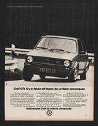 Pub 1977 Automobile Voiture VW VOLKSWAGEN GOLF GTI Ads Car Voitures Automobiles - Pubblicitari
