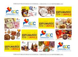 ESPAGNE - 2016 - VIÑETAS PUBLICITARIAS ECC/EXFILNA ZARAGOZA SEPTIEMBRE 2016 - AUTOADHESIVAS - España