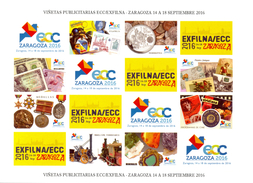 ESPAGNE - 2016 - VIÑETAS PUBLICITARIAS ECC/EXFILNA ZARAGOZA SEPTIEMBRE 2016 - AUTOADHESIVAS - Spanien