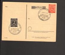 Alli.Bes.Dresden Stempel 2.Weihnachtsmesse Mit Striezelmarkt Von 1946 Auf Blanko Postkarte M.2 U.12 Pfg Ziffer - Gemeinschaftsausgaben