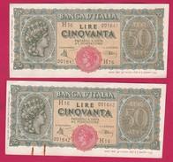 ITALIA.2 Billets De 50 LIRE TURRITA 1944, Alphabet : H16 - [ 1] …-1946 : Kingdom