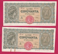 ITALIA.2 Billets De 50 LIRE TURRITA 1944, Alphabet : H16 - [ 1] …-1946: Königreich