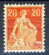 Svizzera 1908  N. 119 C. 20 Rosso E Giallo MH (gomma Screpolata) Cat. € 10 - Svizzera
