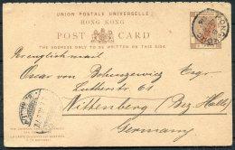 1896 Hong Kong QV 10c / 3c Overprinted Stationery Postcard - Wittenberg, Germany - Hong Kong (...-1997)