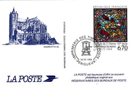 FRANCE CARTE 1994 - LEGENDE DE SAINT ETIENNE  XIIe SIECLE CATHEDRALE DU MANS- DOC. DE LA POSTE - Documentos Del Correo