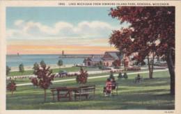 Wisconsin Kenosha Lake Michigan From Simmons Island Park Curteich - Kenosha