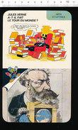 Fiche Disney Humour Caricature De Jules Verne Le Tour Du Monde En 80 Jours / Littérature Portrait /  IM 01/D-2 - Documentos Antiguos