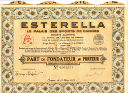 ESTERELLA - Le Palais Des Sports De Cannes - Part De Fondateur - Sport