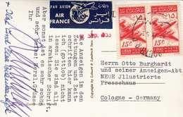 LIBANON 1955 - 2 Sondermarken Auf Ak Flugpost Gelaufen - Libanon