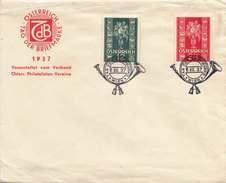 """ÖSTERREICH 1937 - 12 + 24 Gro (Ank358+359) Auf Brief Mit Sonderstempel """"TAG DER BRIEFMARKE 12.12.37"""", Transportspuren - Covers & Documents"""