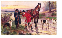 Illustration Illustrateur Tuck Raphael Oilette N°9923 The Hunt Day Chasse à Courre Chasseur Cavalier Cheval Fumeur Cigar - Tuck, Raphael