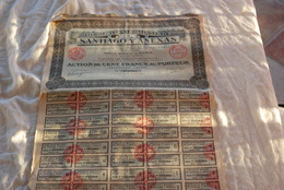 COMPAGNIE MINIERE SANTIAGO Y ANEXAS ACTION DE 100 FRANCS DE 1925 - Actions & Titres