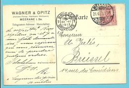 """Zegel Met Firmaperforatie (perfin) """" W.O.M."""" Van WAGNER & OPITZ MEERANE """" Met Stempel MEERANE Op 21/6/1913 - Deutschland"""