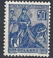 """Yt 257 """" Jeanne D´Arc 50c. Bleu """" 1929 Neuf **"""