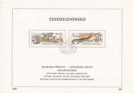 Czechoslovakia / First Day Sheet (1989/10b) Praha: WWF - Amphibians (Bombina Variegata, Triturus Alpestris) - W.W.F.