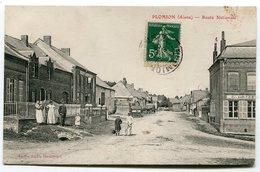 CPA  02  :  PLOMION  Route Nationale Animée Avec Poste Et Commerce   1909   A   VOIR  !!!! - France