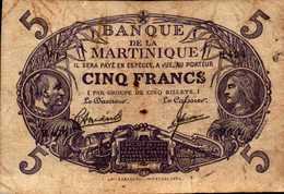 MARTINIQUE (Banque De La) 5 Francs De 1934/45nd  Pick 6 - Frankreich