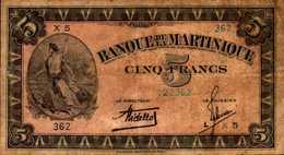MARTINIQUE (Banque De La) 5 FRANCS De 1942nd  Pick 16b - Francia