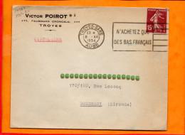 """AUBE, Troyes, Flamme A Texte, """"n'achetez Que Des Bas Français"""" - Marcophilie (Lettres)"""