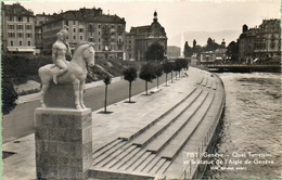 Genève.-Le Quai Turrettini Statue De L'Aigle - GE Ginevra