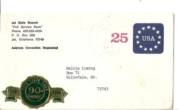 USA Cover 25c USA And Stars Cleo State Bank Anniversary - Brieven En Documenten