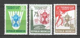 Indonesia 1973 Mi 725-727 MNH BADMINTON (B)