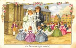 Illustration Non Signée, Mais Attribuée à Pauli Ebner: Un Beau Cortège Nuptial - Noces Couple D'enfants - Illustrateurs & Photographes