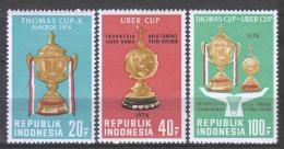 Indonesia 1976 Mi 830-832 MNH BADMINTON